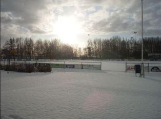Winter op het voetbalveld bij VV Kruiningen